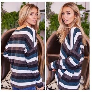 Sweaters - SALE 💚V-Neck Striped Oversized Chenille Sweater